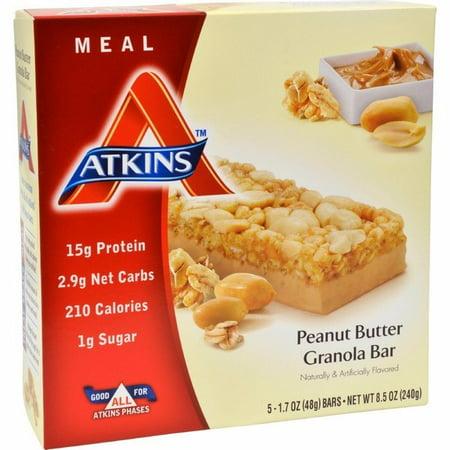 Atkins Advantage Bar Peanut Butter Granola - 5 Bars Advantage Peanut Fudge Granola