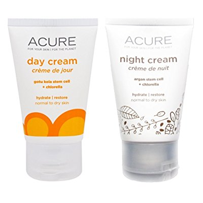 Acure Anti-Aging Natural Day and Night Face Cream With Argan Oil Bundle