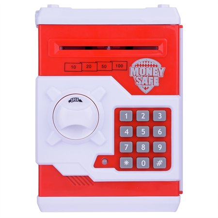Ymiko Practical Lock Money Box, Stain Resistant ABS Mini Safe Money Box, Red/Blue Mini Safe Money Box Coin Saving Electronic Bank Can For Children Kids (Safe Coin)