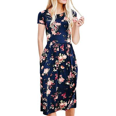 Womens Dresses Summer Floral Short Sleeve Elastic Waist Vintage Retro Midi Dress with