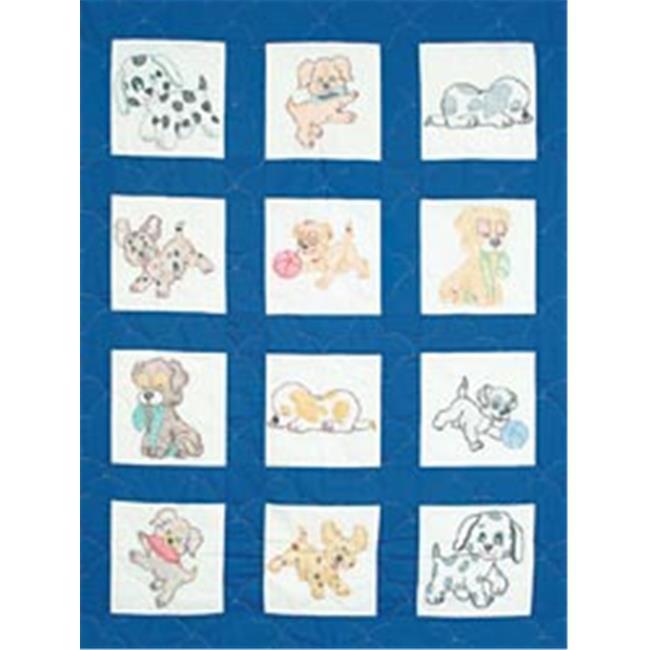 242525 Stamped White Nursery Quilt Blocks 9 in. x 9 in. 12-Pkg-Puppies