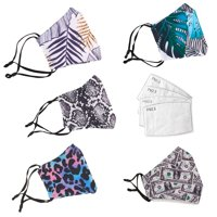 2 Pcs Reusable Cloth Face Coverings, Washable Fabric Mask with 4 Pcs Filters