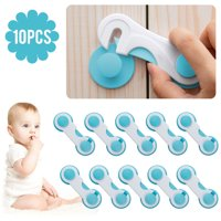 EEEKit 10/5Pcs Baby Safety Locks Straps Latches for Kids Child Toddler Proofing Cabinets, Drawers Sliding Doors, Refigerator, Windows, Toilet Seat, Lever Door Handle, Fridge and Oven