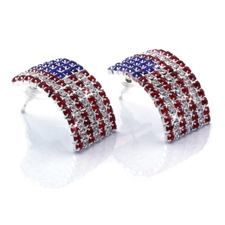 cocojewelry USA American Flag Patriotic Red Blue Rectangle Stud Earrings - Patriotic Earrings