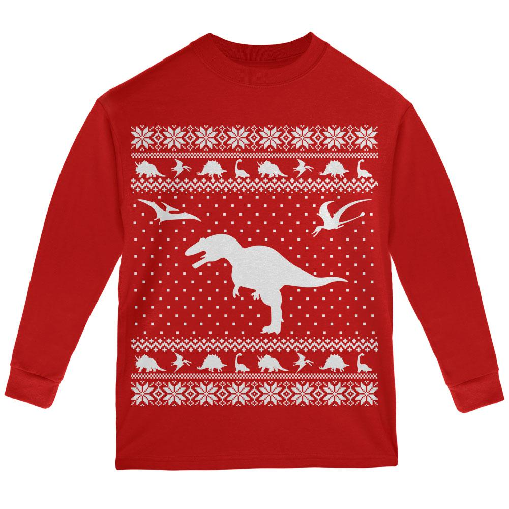 Dinosaurs Ugly XMAS Sweater Red Youth Long Sleeve T-Shirt