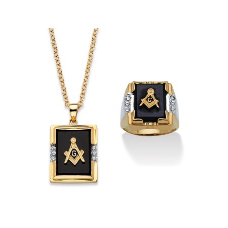 Men's Genuine Black Onyx and Crystal Two-Tone Masonic Ring and Necklace Set 14k Gold-Plated
