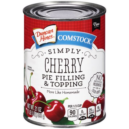 (3 Pack) Duncan Hines Comstock Simply Cherry Pie Filling & Topping, 21 (Best Canned Cherry Pie Filling)