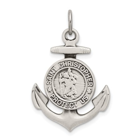 - 925 Sterling Silver St Christopher Nautical Anchor Ship Wheel Mariners Medal Pendant Charm Necklace Religious Patron Saint Gifts For Women For Her