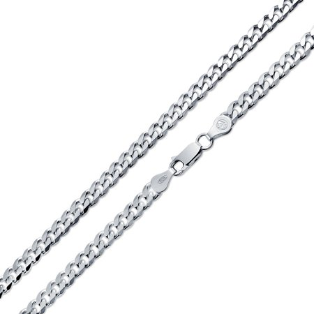 Bling Jewelry Mens Curb Cuban Chain Link Necklace Heavy 150 Gauge 925 Sterling - Cuban Attire