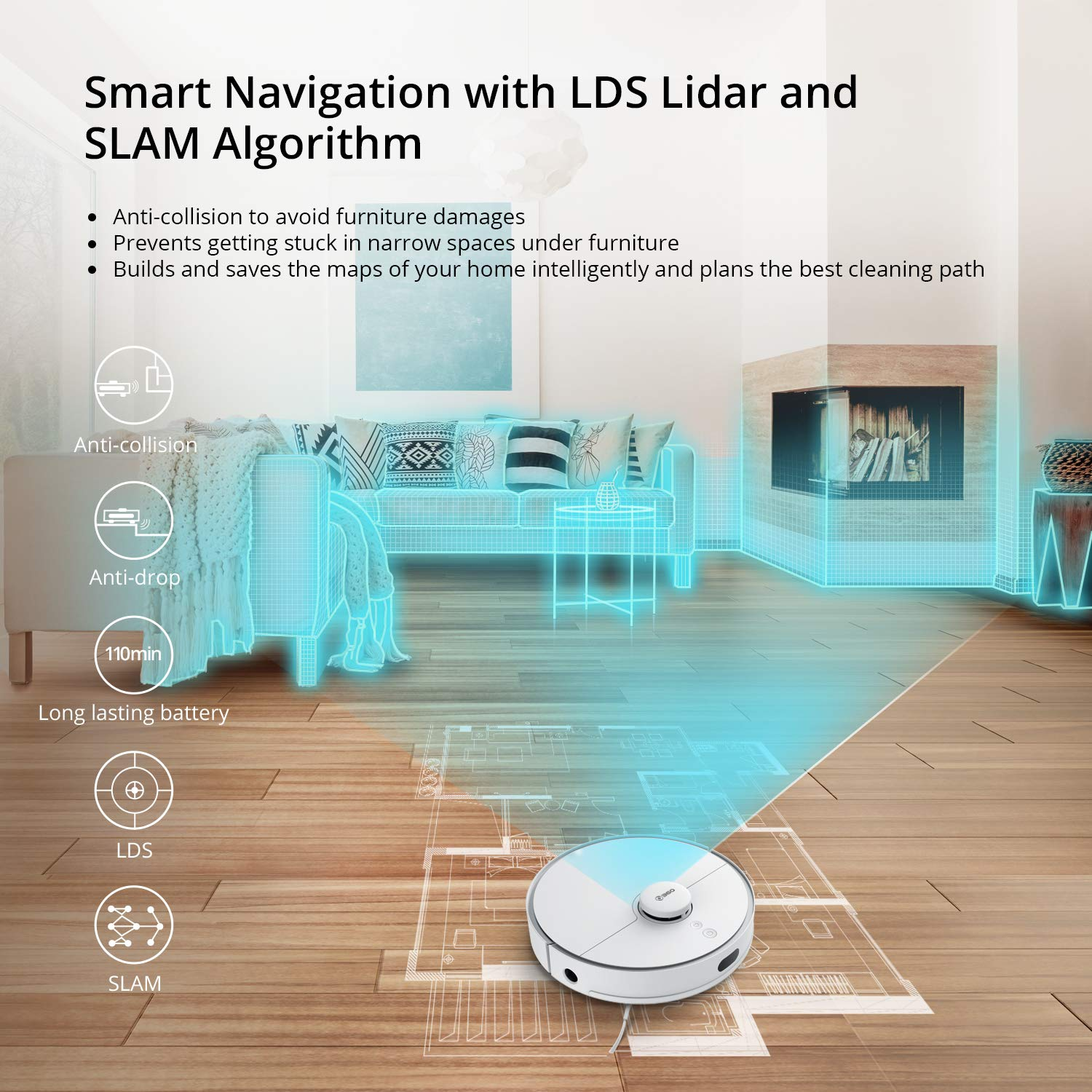 Robot Vacuum Cleaner, 360 2000Pa Robotic Vacuum with Laser Navigation,  Smart Sensor, Auto-Rechorge and Resume, Multi-Map Management, Off Limit App