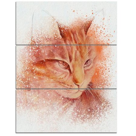 Design Art 'Brown Cat Face Sketch on White' 3 Piece Graphic Art on Wrapped Canvas Set