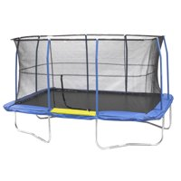 Jumpking Rectangle 10' x 14' Trampoline, with Enclosure, Blue/Yellow (Box 1 of 3)