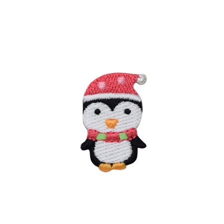 Christmas - Penguin with Santa Hat - Iron on Applique/ Embroidered Patch