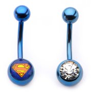 Body Art 14g Blue Navel Curve with Gem and Superman Logo, 2 Pack