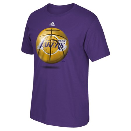 Los Angeles Lakers Adidas Nba   Logo Ball   Premium Print S S Mens T Shirt