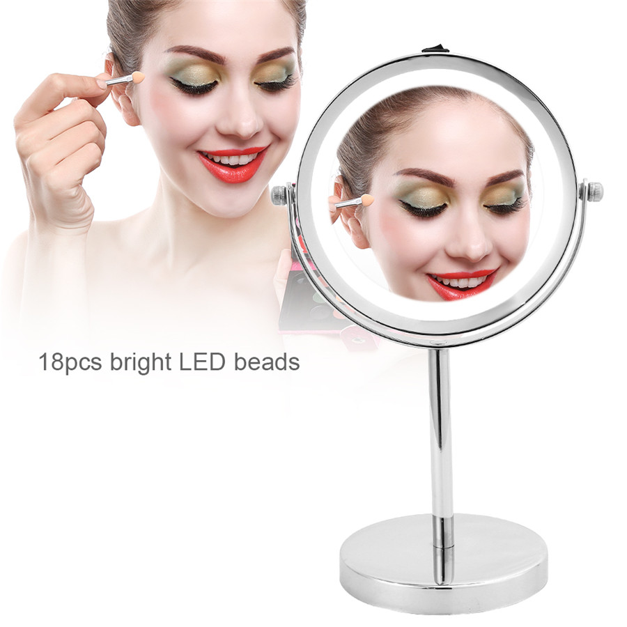 Qiilu Comestic LED Illuminated Magnifying Round Dual Sided Vanity Cosmetic Mirror
