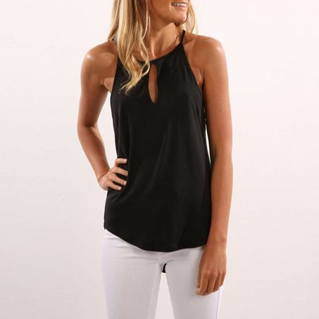 Halter Neck Blouse (Women Summer Vest Tops Sleeveless Shirt Blouse Casual Tank Tops T-Shirts Halter Neck  Sun-top Black S )
