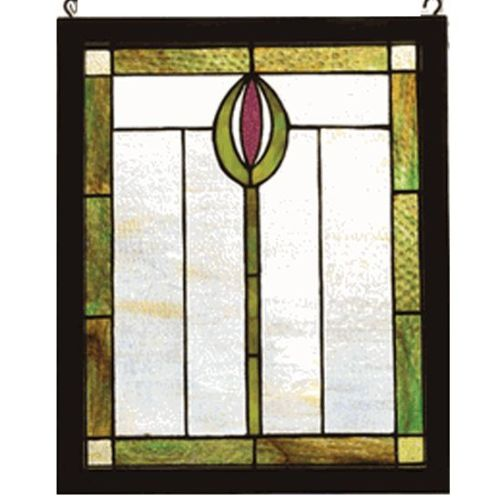 Meyda Tiffany 98100 Stained Glass Tiffany Window from the Arts & Crafts Collection