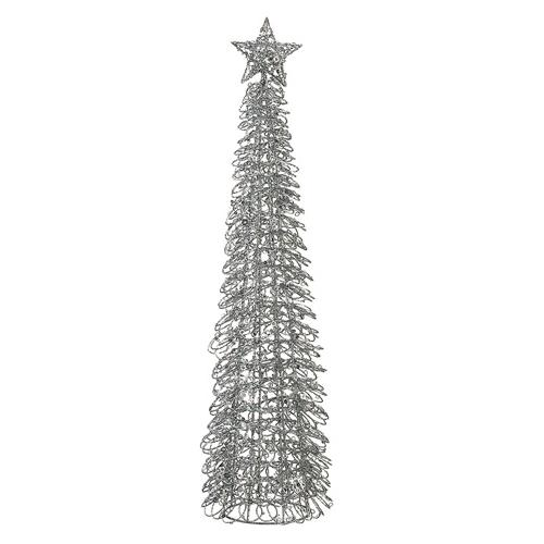 """23.5"""" Elegant Silver Sequined Cone Christmas Tree Table Top Decoration - Unlit"""