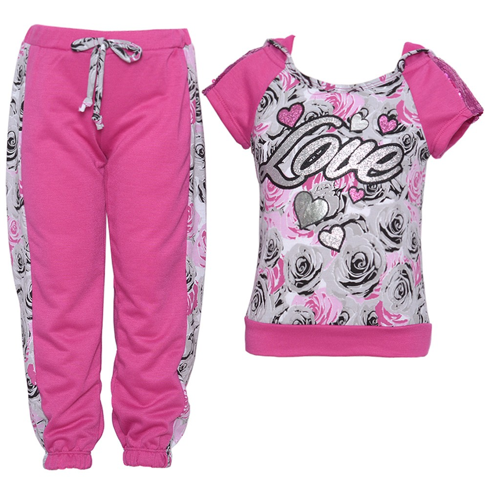 Little Girls Fuchsia Sequin Rose Heart Print Hooded 2 Pc Pants Set 2T-6X
