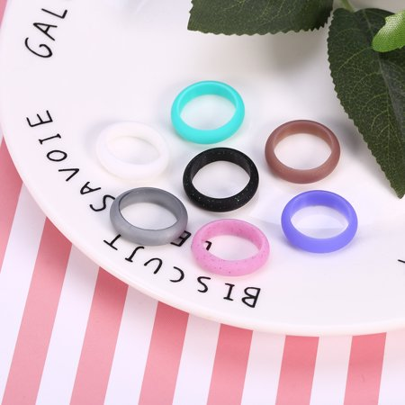 5 Sizes 7Pcs Colors Women Silicone Wedding Ring Set Outdoor Workout Flexible Band , Silicone Ring Band, Silicone Wedding Ring