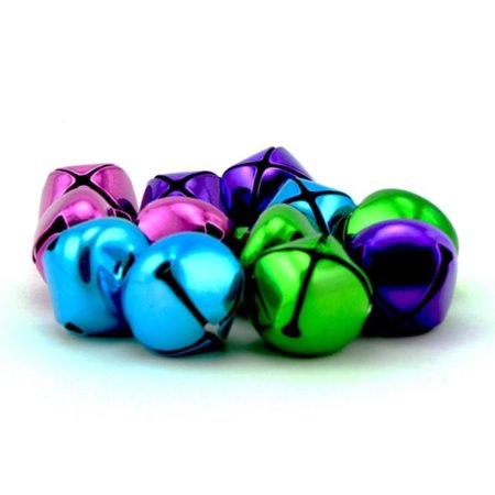 1 Inch 25mm Purple Turquoise Green Pink Mix Craft Jingle Bells Charms 12 - Jingle Bells For Sale