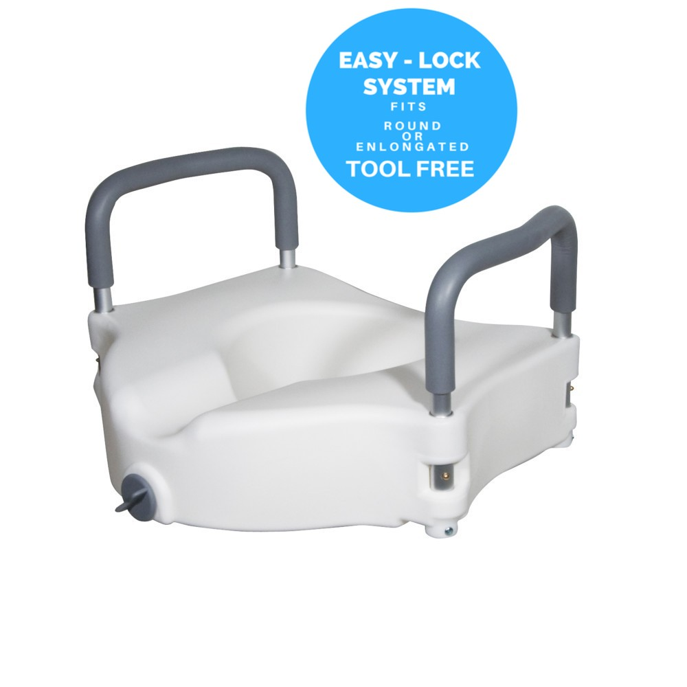 MDS Online - Elevated Raised Toilet Seat & Commode Riser with Removable Padded Handles with EZ Locking Mechanism, White