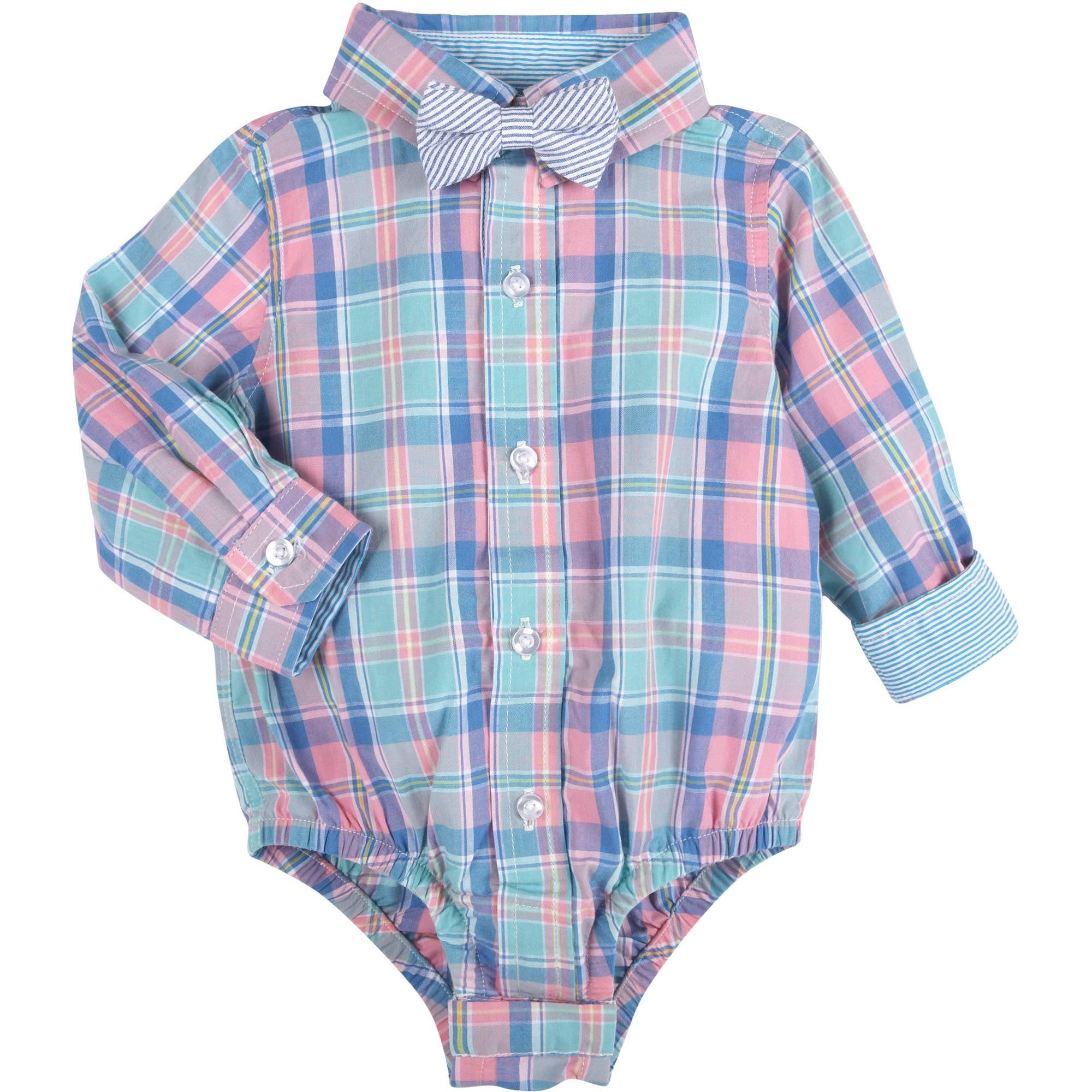 Newborn Baby Boys\' Aqua Plaid Shirt Bodysuit with Seersucker Bowtie ...