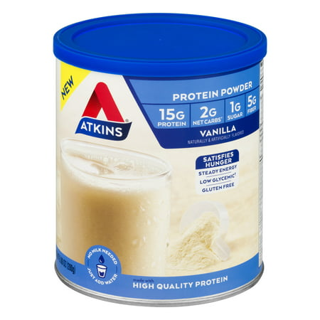 Atkins Protein Powder, Vanilla, 9.88 oz - 10 (Best Rated Protein Powder For Weight Loss)