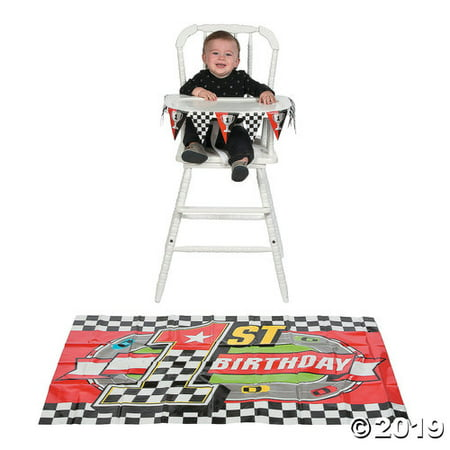 Racing Race Car 1st Birthday Party High Chair Decoration Set - Car Birthday Supplies