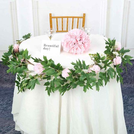 Efavormart 6 ft 5 Flowers Silk Peony Garland Bendable Wire Vines Artificial Flower Garlands - Barbed Wire Garland