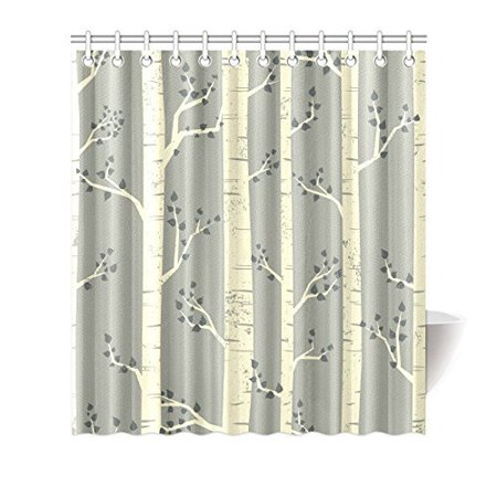 MYPOP Tree Decor Shower Curtain Elegant Birch Branches Vintage Style Contemporary Illustration Of Nature