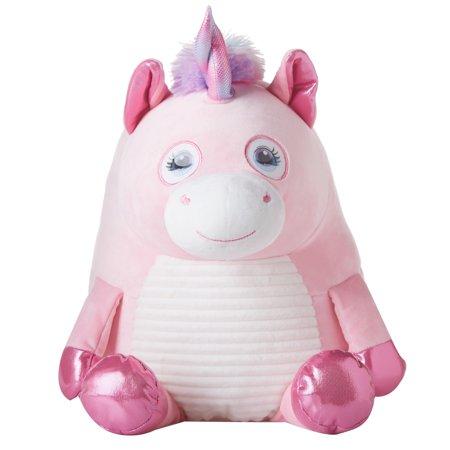 Round Flip Eye Plush, Unicorn, Pink
