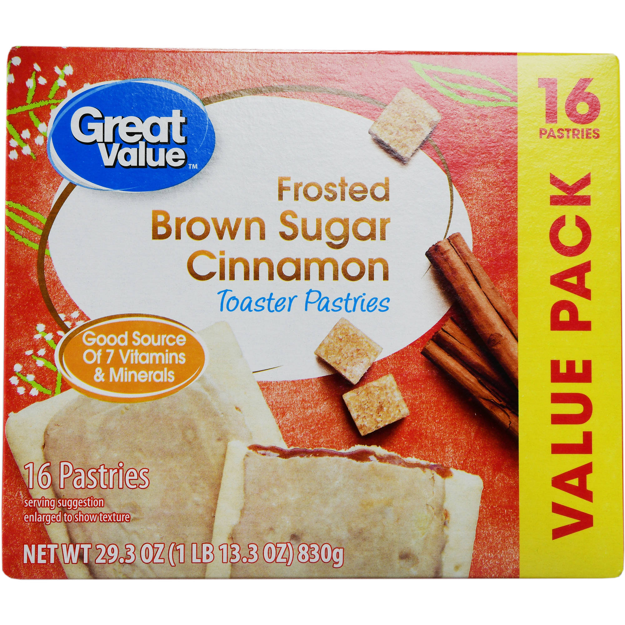 Great Value Frosted Brown Sugar Cinnamon Toaster Pastries, 16 count