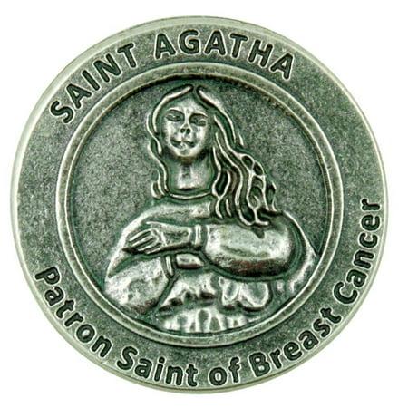Silver Tone Saint Agatha Patron Saint of Breast Cancer Prayer Pocket Token, 1 1/8 Inch