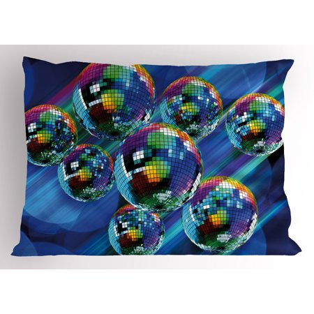 70s Party Pillow Sham Colorful and Funky Vibrant Disco Balls in Abstract Night Club Dancing Theme Art, Decorative Standard Queen Size Printed Pillowcase, 30 X 20 Inches, Multicolor, by Ambesonne