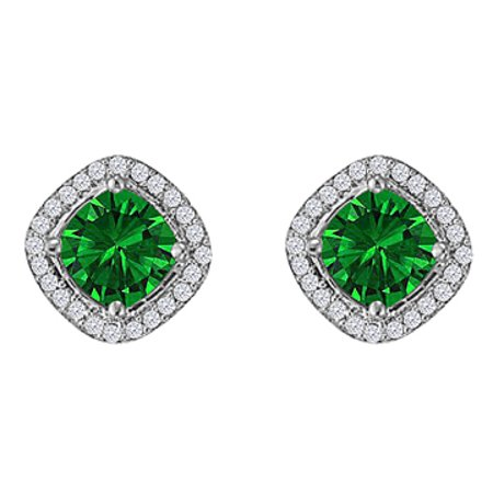 Rhombus Design Cz Emerald Earrings 925 Sterling Silver