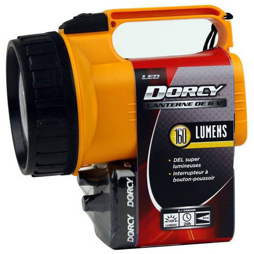 Dorcy 41-2082 LED Flashlight Lantern with 6-Volt Battery and Nylon Lanyard, 55-Lumens, Yellow Finish by Dorcy International