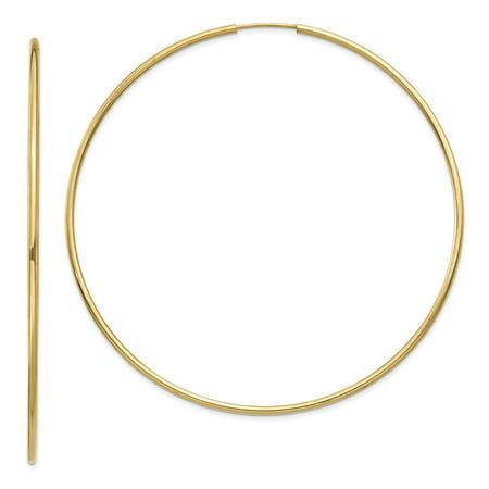 14k Yellow Gold Endless Hoop Earrings (3IN Diameter)