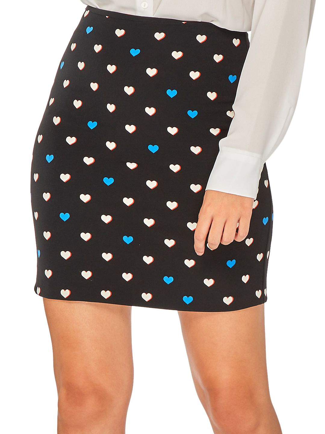 Heart-Print Mini Skirt