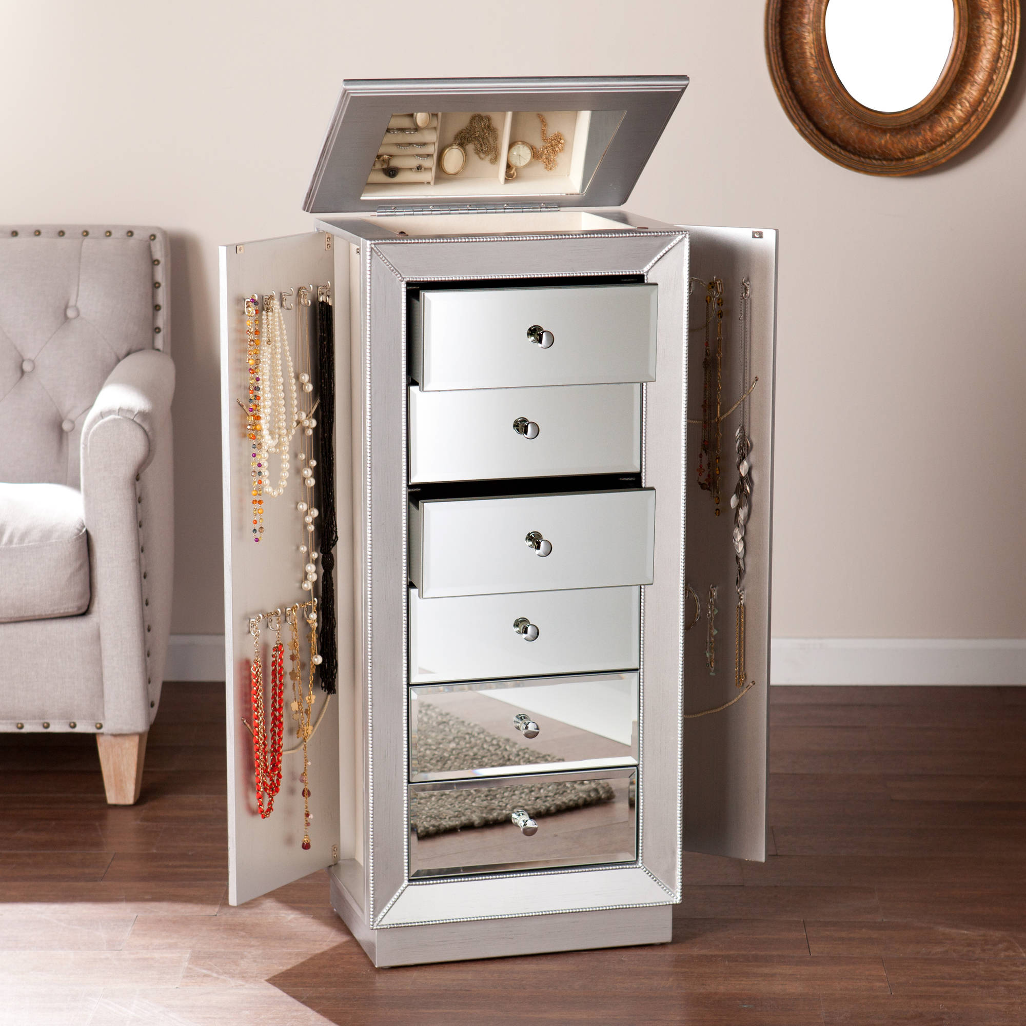 Southern Enterprises Javlin Mirrored and Matte Silver Jewelry Armoire