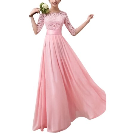 Women Long Lace Dress Evening Formal Party Prom Wedding Bridesmaid Ball Gown Fashion Ladies Half Sleeve Pageant Dresses