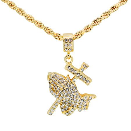 - 14K Gold Plated Hip Hop Bling Iced Out Praying Hands With Cross Pendant with 24