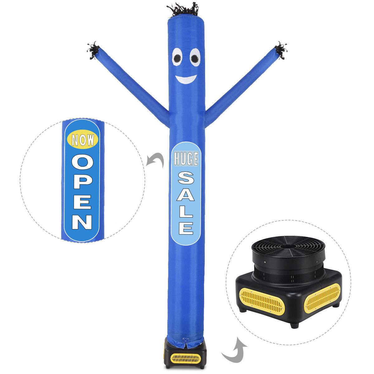 Costway 10ft Inflatable Dancer Puppet Tube Man Removable Slogans With Blower Blue by Costway