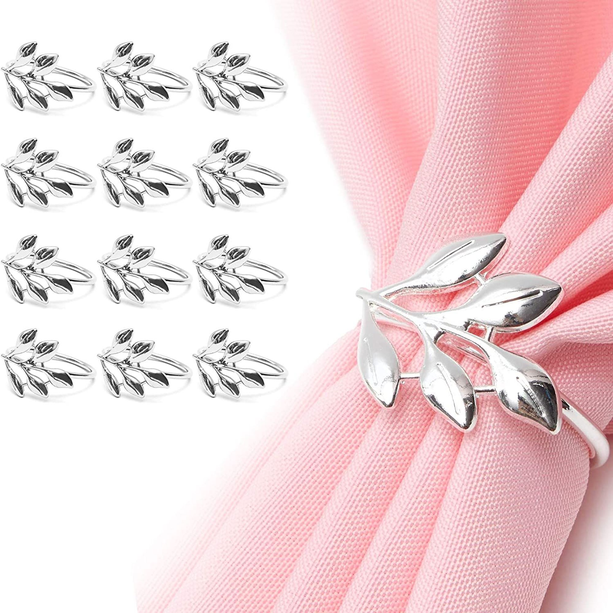Set Of 12 Metal Leaf Silver Napkin Rings Holder For Dinner Table Wedding Event 1 8 Inches Walmart Com Walmart Com