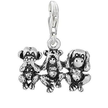 Speak No Evil See No Evil Hear No Evil Monkeys Clip on Pendant Charm for Bracelet or Necklace