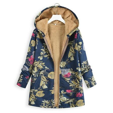 Women's Vintage Digital Print High Quality Hoodie Sweater Warm With Plush Jacket Jacket Warm Autumn Winter Slim Fit Zipper Closure M-3XL Plus