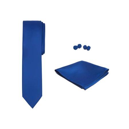 Pink Enamel Cufflinks - Jacob Alexander Solid Color Men's Skinny Tie Hanky and Cufflink Set