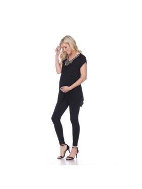 White Mark MTRPS1288-02-1XL Maternity Myla Embellished Tunic, Black - Extra Large