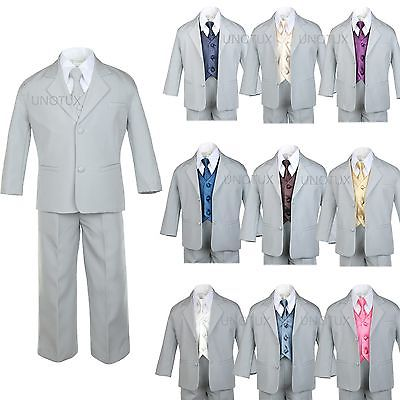 BABY TODDLER BOY TEEN 7 PC WEDDING  PROM PARTY FORMAL TUXEDO SUIT GRAY SIZE:S-14 - Prom Suit